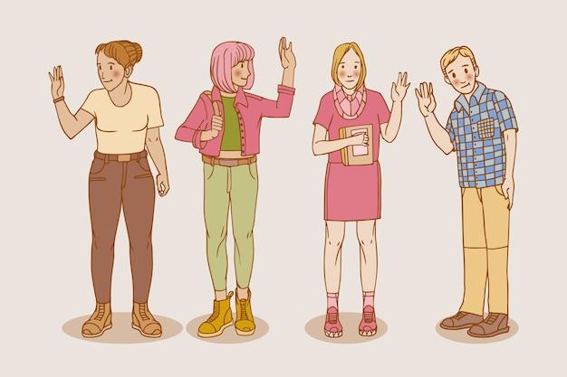 手描きの若者が手を振ってコレクション 無料ベクター