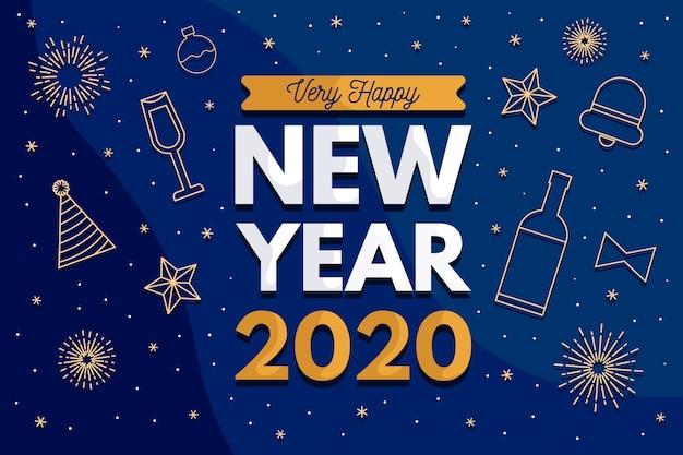 フラットなデザインで新年の背景 無料ベクター