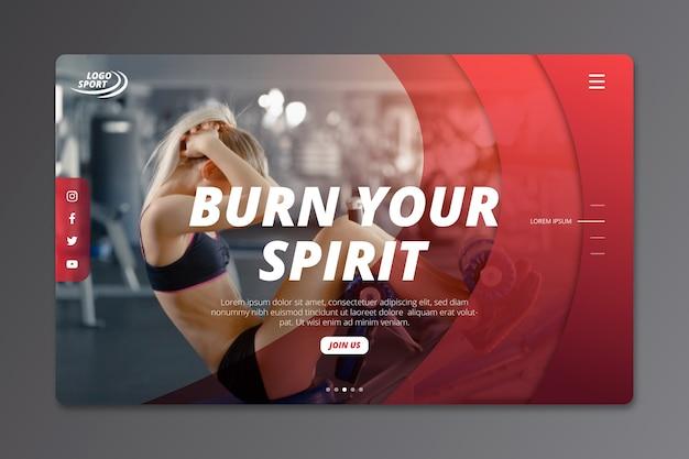 Спортивная целевая страница с изображением Бесплатные векторы