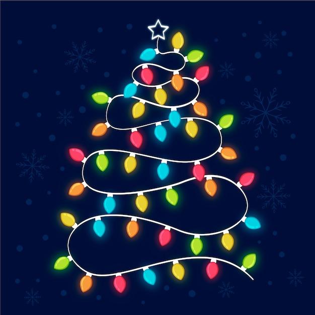 Рождественская елка из лампочек Бесплатные векторы