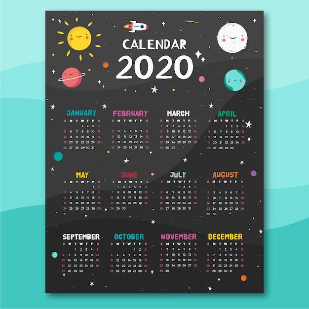 スペーステーマカレンダーテンプレート 無料ベクター
