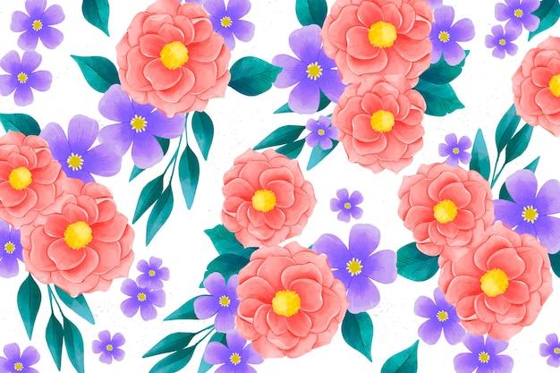 現実的なカラフルな手描きの花の背景 無料ベクター