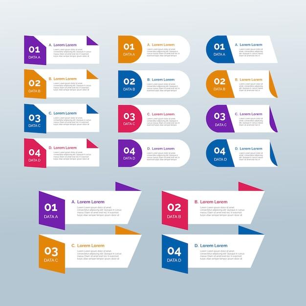 フラットなデザインのインフォグラフィック要素テンプレート 無料ベクター