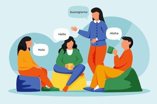 異なる言語で話している人のイラスト 無料ベクター