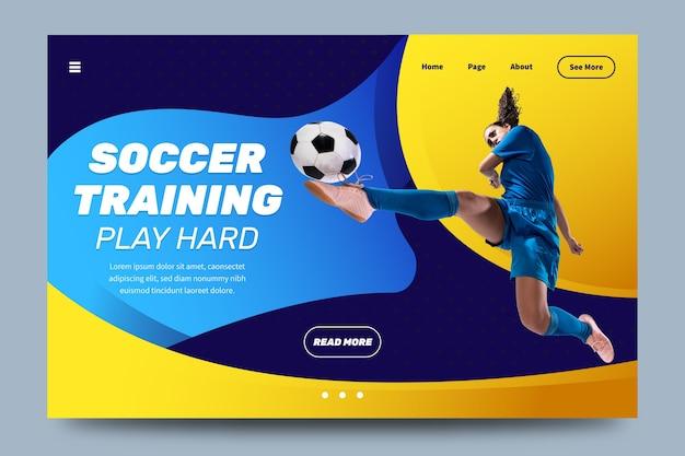 Спортивная целевая страница с шаблоном изображения Бесплатные векторы