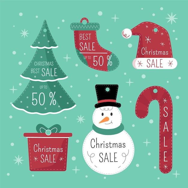 かわいい要素のデザイン入りクリスマスギフトタグ 無料ベクター