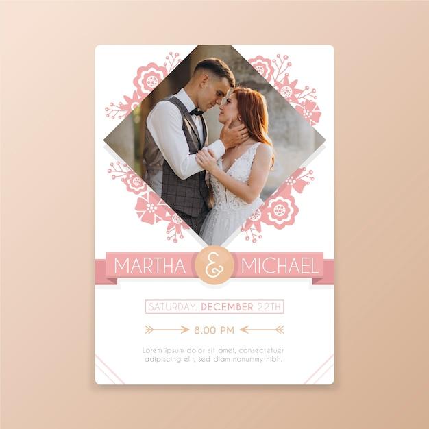 結婚式の招待状の写真テンプレート 無料ベクター