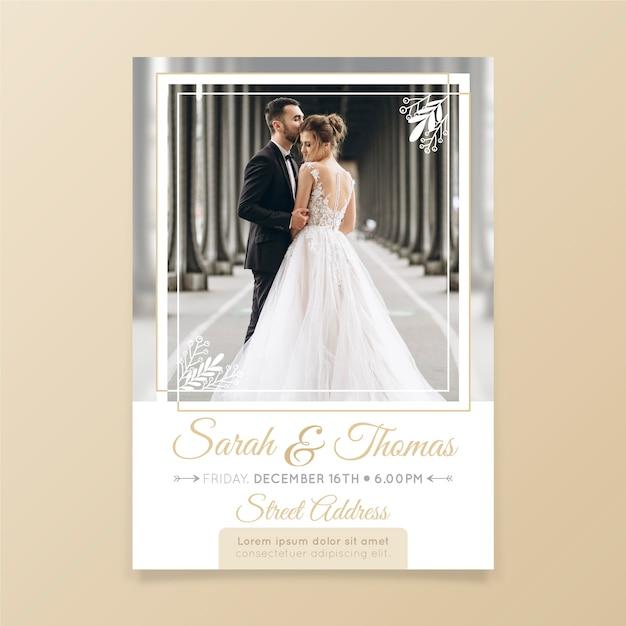 Свадебное приглашение фото шаблон Бесплатные векторы