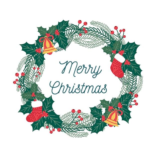 Плоский рождественский венок с омелой Бесплатные векторы