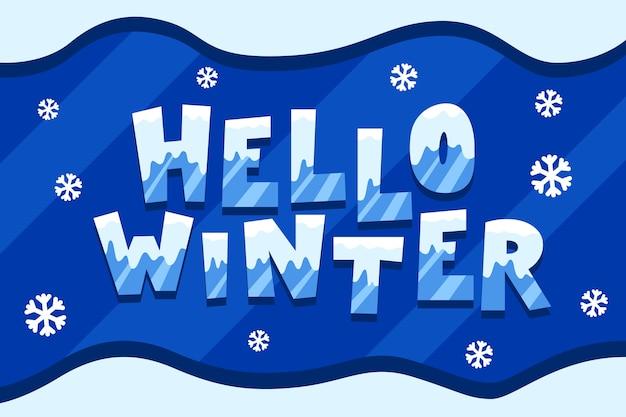 Привет зима надписи со снежинками вокруг Бесплатные векторы