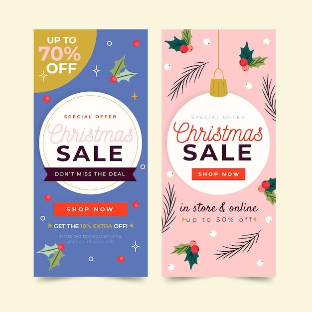 Рождественские продажи баннеров в рисованной конструкции Бесплатные векторы