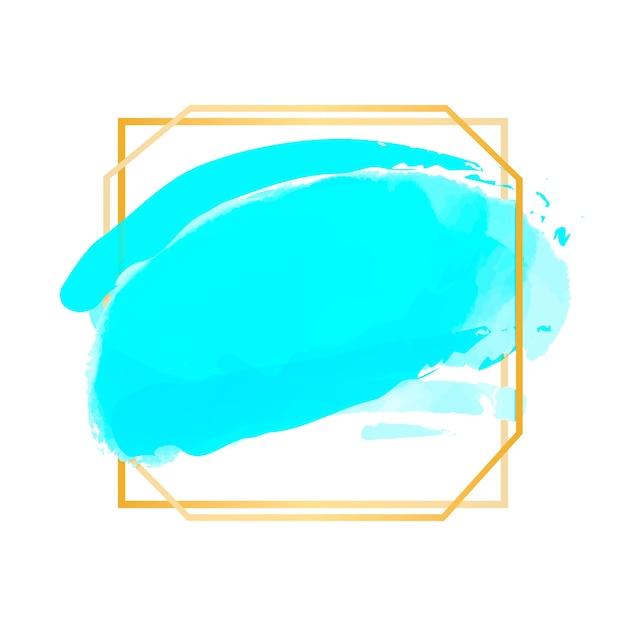 水彩の汚れと黄金のシンプルなフレーム 無料ベクター