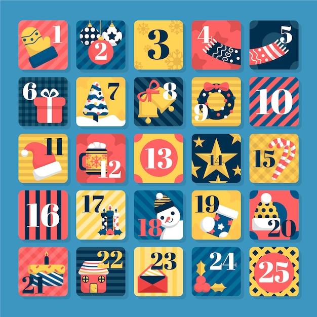 Рождественский рождественский календарь с геометрическими узорами Бесплатные векторы