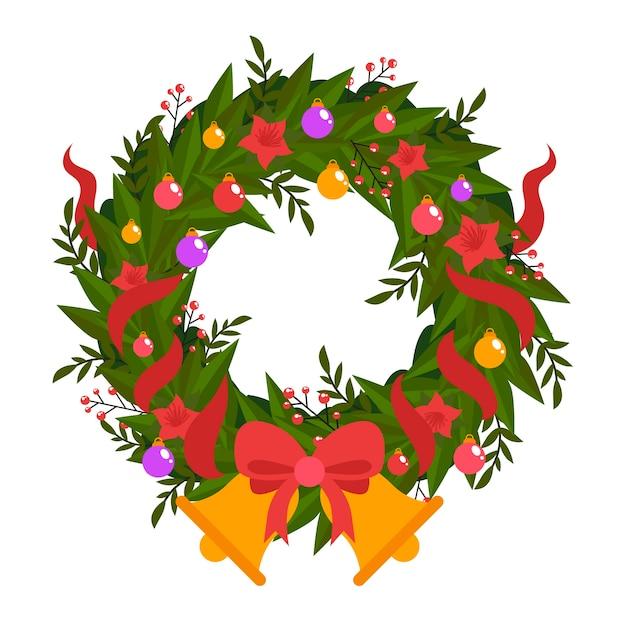 フラットなクリスマスリースと黄金のジングルベル 無料ベクター
