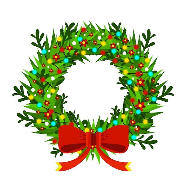 クリスマスと新年のモミの木の花飾り 無料ベクター