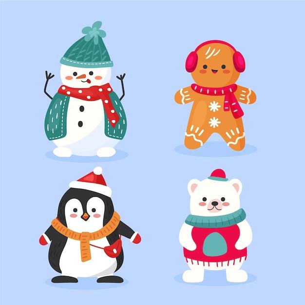 Симпатичные рождественские животные с шарфом рисованной Бесплатные векторы