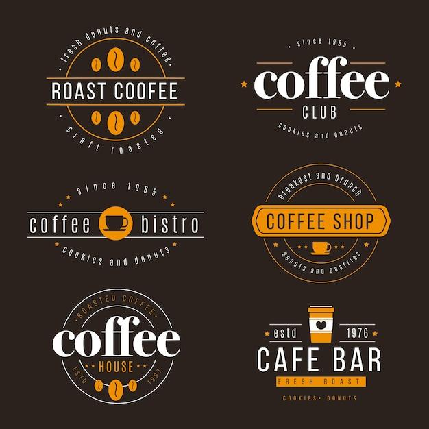 Кофейня ретро логотип набор Бесплатные векторы