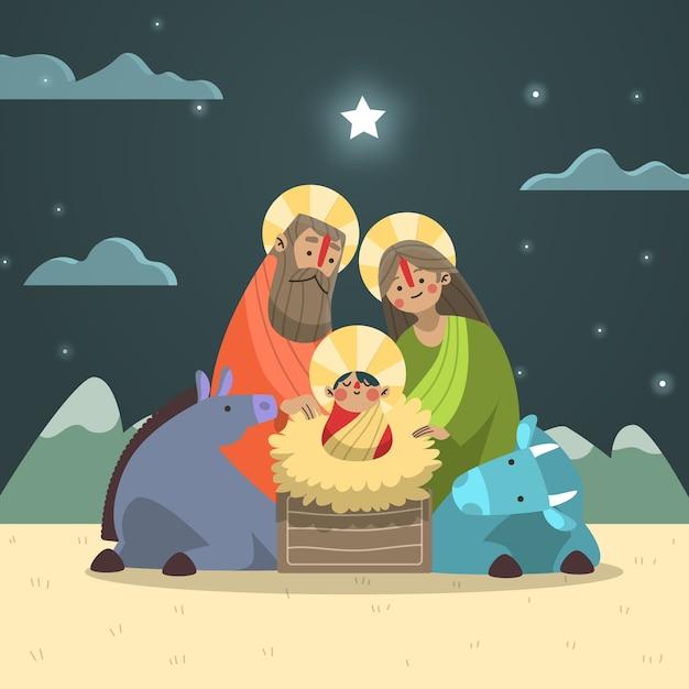 夜の子供と動物のキリスト降誕のシーン 無料ベクター