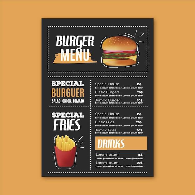Шаблон меню ресторана с гамбургером Бесплатные векторы