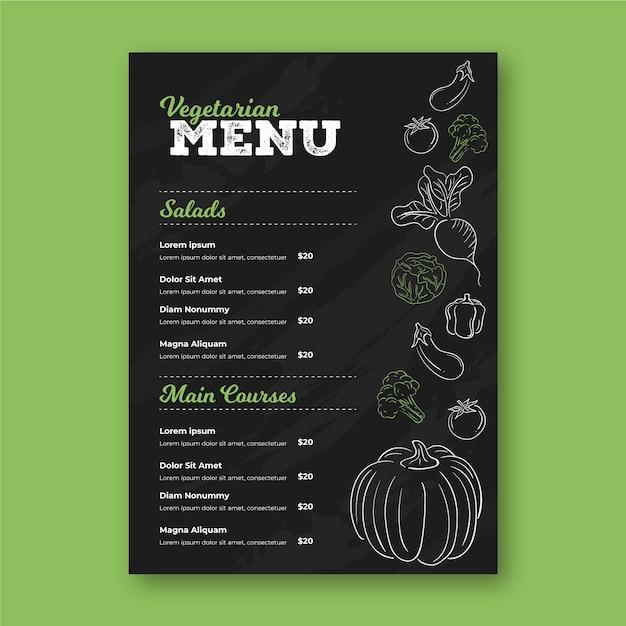 Шаблон меню ресторана с рисунками Бесплатные векторы