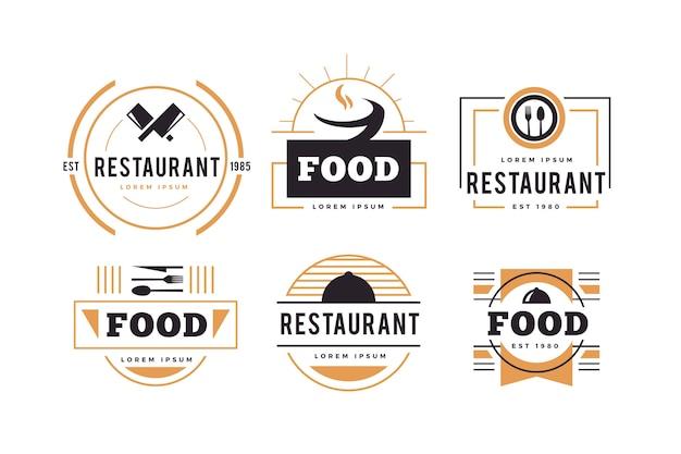 レストランレトロなロゴセット 無料ベクター