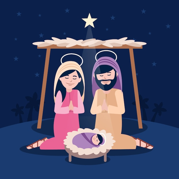 祈る人との宗教的なキリスト降誕のシーン 無料ベクター