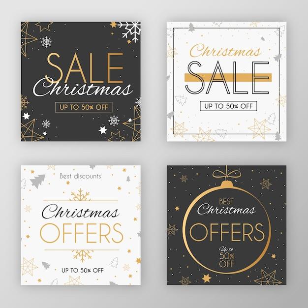 エレガントなお祝いクリスマスソーシャルメディアポストセールコレクション 無料ベクター