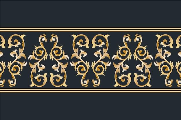 Золотой орнаментальный бордюр Бесплатные векторы