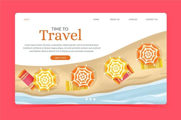 フラットなデザインテンプレート旅行ランディングページ 無料ベクター