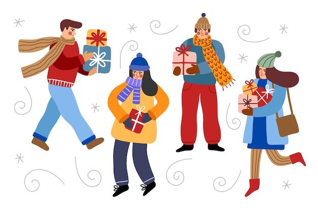 クリスマスプレゼントを買う人 無料ベクター
