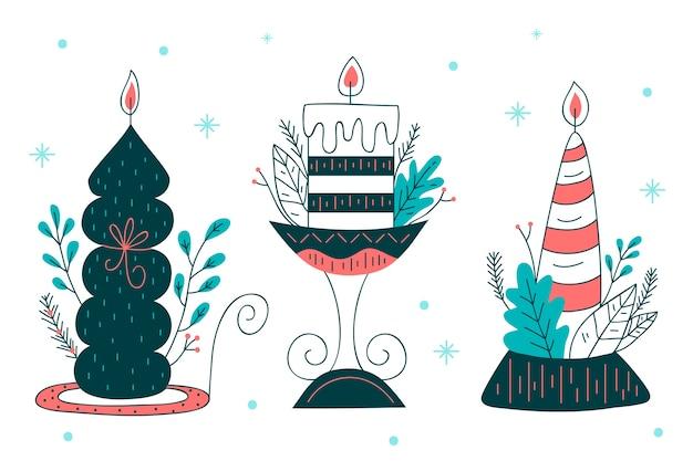 クリスマスキャンドル手描きスタイル 無料ベクター