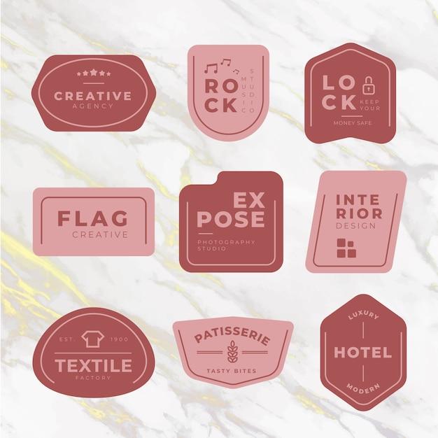 Минимальный пакет логотипов на мраморном фоне Бесплатные векторы