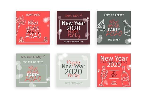 Коллекция новогодних инстаграм постов Бесплатные векторы