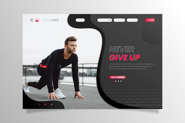 Спортивная посадочная страница с человеком, готовым к бегу Бесплатные векторы