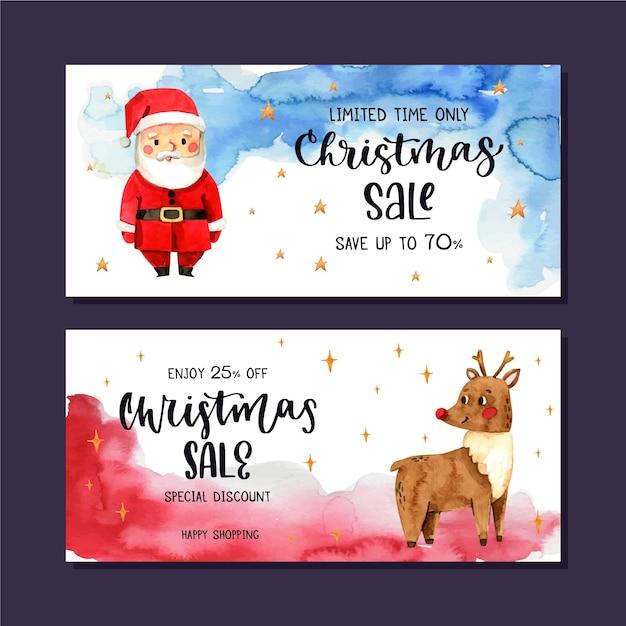 Акварельные рождественские продажи баннеров и санта с оленями Бесплатные векторы