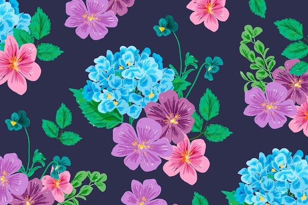 現実的な手描きの花の背景 無料ベクター