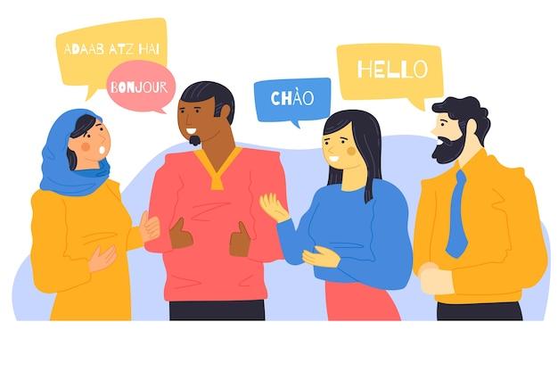 イラストの異なる言語で話している若者 無料ベクター