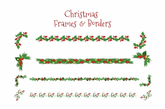 Плоские рождественские рамки и бордюры Бесплатные векторы