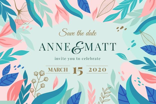 Естественно сохранить дату приглашения на свадьбу Бесплатные векторы