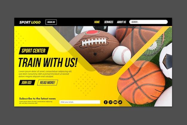 写真付きの現代スポーツのランディングページ 無料ベクター