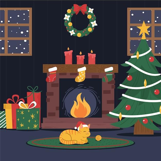 Рождественский камин с милой кошкой в шапке санта-клауса Бесплатные векторы