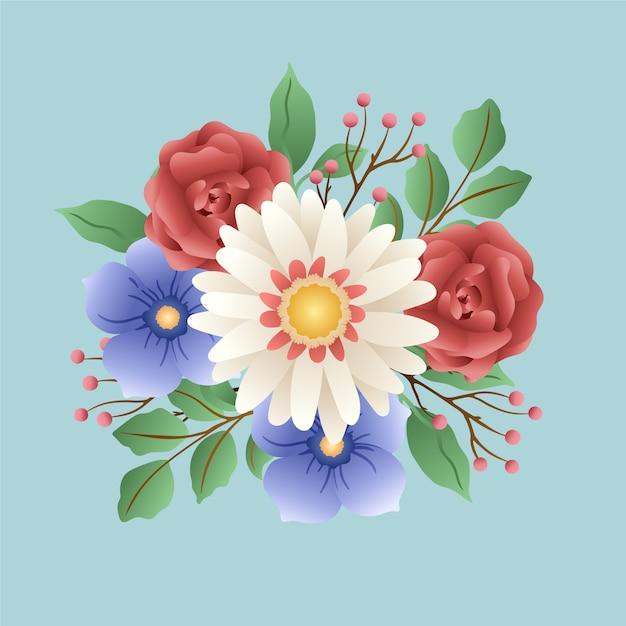 花のカラフルなビンテージブーケ 無料ベクター