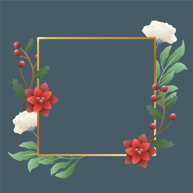 Золотая рамка с яркими зимними цветами Бесплатные векторы