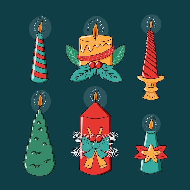 かわいいクリスマスデザインのキャンドルを明るくする 無料ベクター