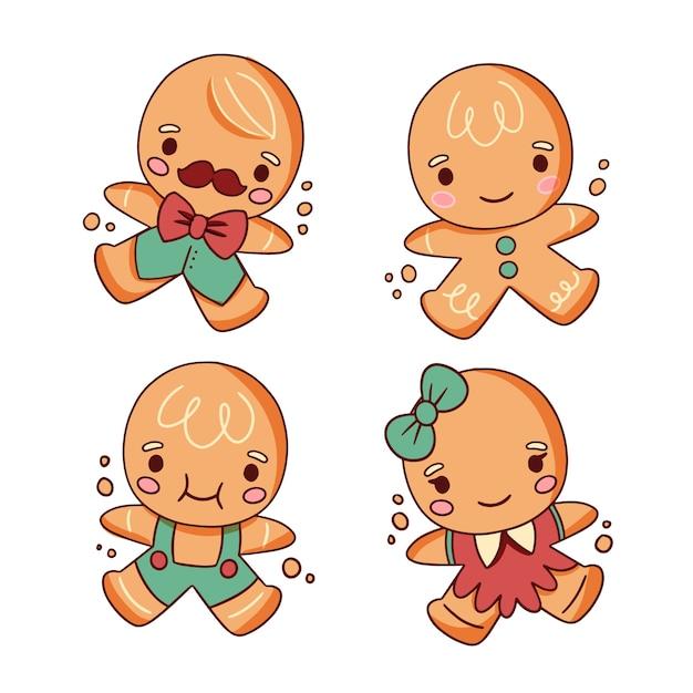 かわいいジンジャーブレッド人キャラクタークッキー手描き 無料ベクター
