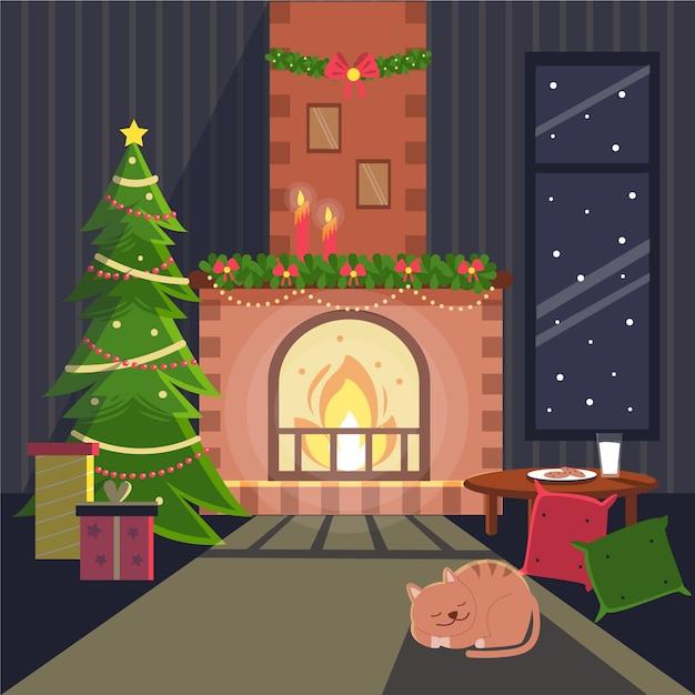 Рождественский камин Бесплатные векторы
