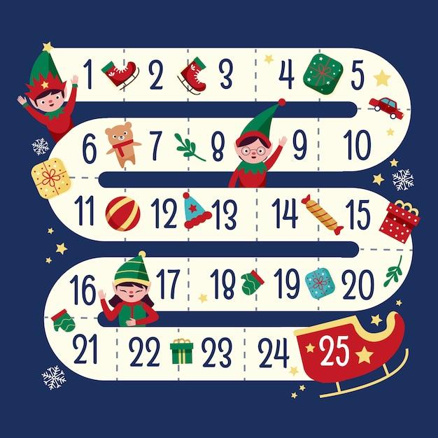 Ручной обращается праздничный календарь пришествия Бесплатные векторы