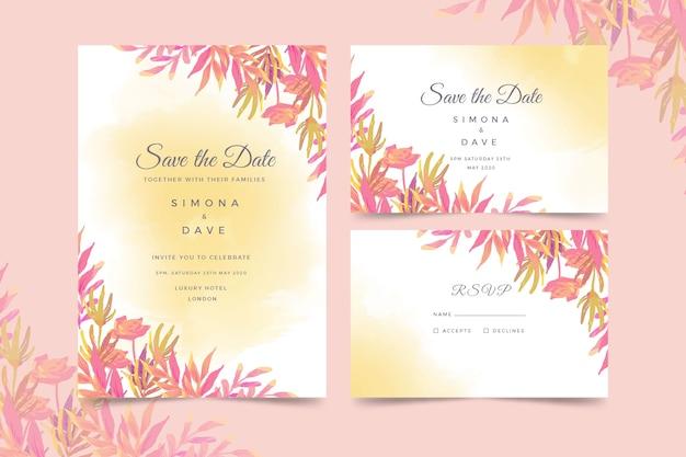 Акварельные свадебные приглашения Бесплатные векторы