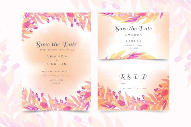 水彩の結婚式の招待状のテンプレート 無料ベクター