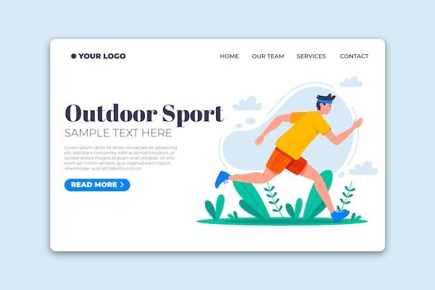 フラットなデザインテンプレートの屋外スポーツランディングページ 無料ベクター